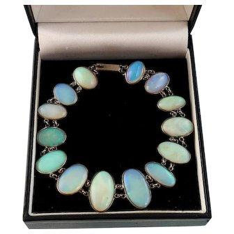 Edwardian Era Natural Opal Bracelet in Silver