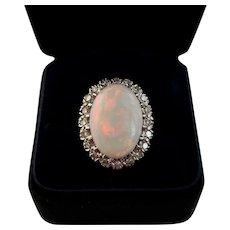 Art Deco Era Large Natural Opal Ring with Diamonds