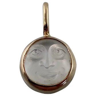 Victorian Man in the Moon Pendant, 14k, Tiny Size