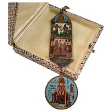Large Victorian Enameled Fob, Egyptian Revival, Double-Sided