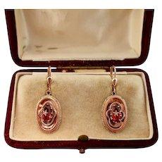 Victorian Spessartine Garnet Earrings with Seed Pearls, 14k Rose Gold