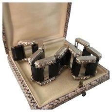 Bold Art Deco Bakelite and Rhinestone Gate Link Bracelet, DRGM, S&H