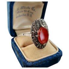Art Deco Carnelian Marcasite Ring, Germany, Unusual Shape