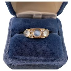 Antique Moonstone and Diamond Ring, 18ct Gold