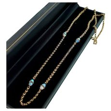 Antique 14k Gold Chain Necklace with Fiery Opal Beads, 25""