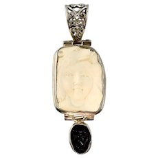 Vintage Carved Girl and Dog Pendant with Geode, Large, Silver