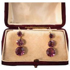 Victorian Revival Earrings, 9k Gold, Sparkling Amethyst Pastes