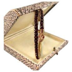Art Deco Snake Bracelet with Genuine Garnets