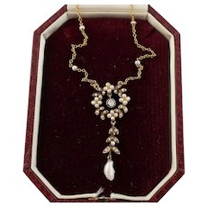 Natural Pearl and Diamond Necklace in 14k Gold