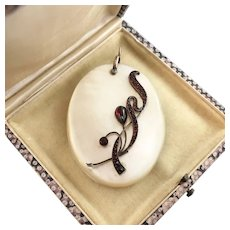 Art Nouveau Garnet and Mother of Pearl Sliding Pendant with Mirror, Large