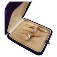 "Vintage 14k and Diamond Long Twist Earrings, 2-1/4"""