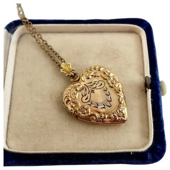 Antique Gold Filled Heart Locket with Chain