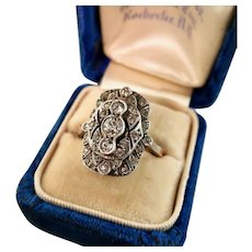 Art Deco Paste Ring, 9ct Rose Gold and Sterling
