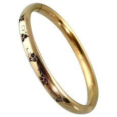 Victorian Gold Filled Bangle Bracelet with Pastes