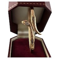Vintage Snake Bracelet with Diamonds and Rubies, 9ct Gold