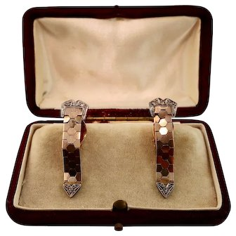Antique Diamond, 14k Rose Gold and Silver Earrings, Buckle Belt Design