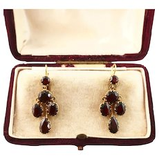 Victorian Garnet Chandelier Earrings in 9ct Gold