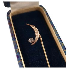 Victorian Moon Stick Pin with Seed Pearls and Paste, 14k Rose Gold Top