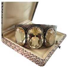 Victorian Sterling Silver Bangle with Three Natural, Huge Citrines