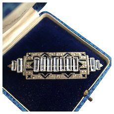 Art Deco Brooch with Crystals and Black Enameling
