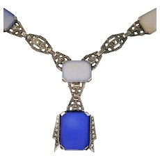 Art Deco Blue Chalcedony Necklace with Marcasites, Sterling Silver