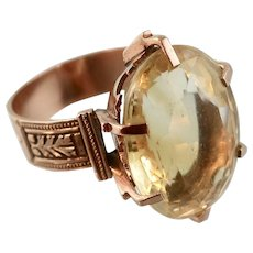 Victorian Huge Citrine Stone Ring, 14k Rose Gold, Size 10