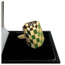 Vintage 18k Enamel Ring with Three Diamonds, Italy, Size 7