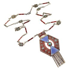 Theodor Fahrner Necklace, Blue Chalcedony and Turquoise, Enamel, 1927