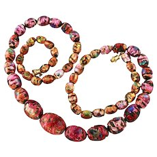 Venetian Glass Bead Necklace, a Riot of Color