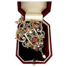 Magnificent Austro Hungarian Brooch Pendant with Enameling, Ruby, Pearls, Stones
