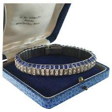Art Deco Sapphire and Diamond Paste Bracelet, DRGM, Schreiber and Hiller