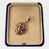 Antique Hand Bail and Star Pendant, Red Paste, 9ct Rose and Yellow Gold