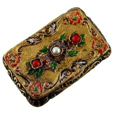 Pretty Vintage Gilt Pill Box with Coral, Enameling, Glass Pearl