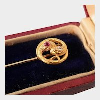 Antique Snakes Stick Pin, Diamond and Ruby, 14k Gold, with Box