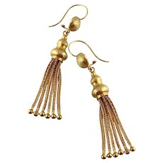 Victorian Tassel Earrings with Engravings, 15ct Gold, 2-3/8""