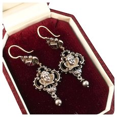 Extraordinary Victorian Cherub Earrings with Pastes, Sterling and 14k