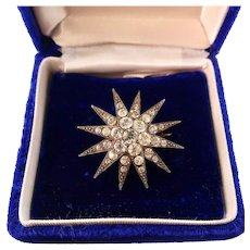 Antique Star Brooch with Sparkling Pastes, Gold on Silver