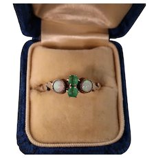 Edwardian Ring with Two Opals and Emerald Pastes, 10K Gold