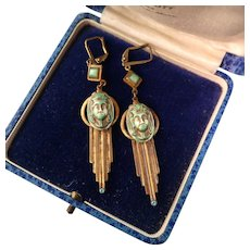 "Art Deco Egyptian Revival Earrings,  Glass Pharaohs and Gold Paint, 2-5/8"""