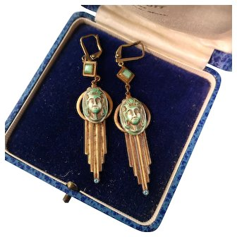 Art Deco Egyptian Revival Earrings,  Glass Pharaohs and Gold Paint, 2-5/8""