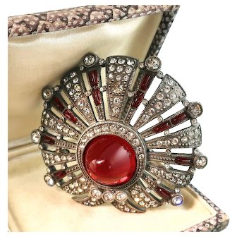 Large Deco Eisenberg Brooch with Red Gumdrop, Red Baguettes, and Clear Rhinestones