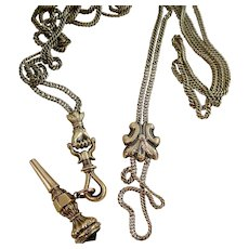 "Victorian 10k Gold Hand Clasp Necklace with Slide and Fob, 60"" Long"