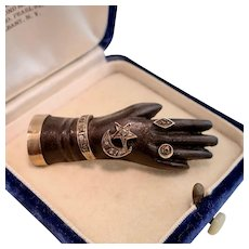 Victorian Bog Oak Hand Brooch Bejeweled with Diamonds, 10k Rose Gold