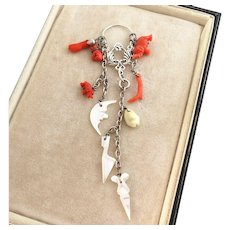 Victorian Coral and Mother of Pearl Charms, Figa, New Charm Holder Pendant, 4-3/4""