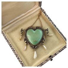 Art Nouveau Large Heart Necklace or Brooch in Natural Turquoise and Pearls