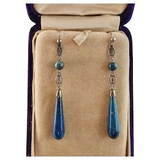 "Art Deco Lapis and Silver Dangling Earrings, 2-3/8"""