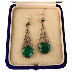 Art Deco Chrysoprase Marcasite Earrings