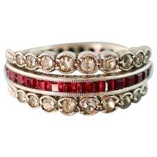 Art Deco Flip Ring, Ruby Sapphire Diamond Pastes