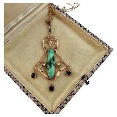 Art Nouveau Turquoise, Garnet, Seed Pearl Lavalier, 14k Rose Gold