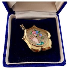 Victorian 14k Gold Locket with Enameled Hand and Flowers